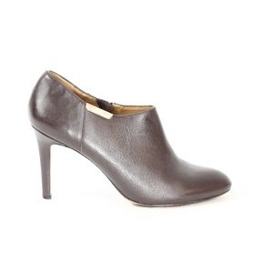Coach Leather Booties Women Brown Boots Shoes